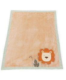 Abracadabra Plush Luxury Blanket Lion Design - Peach Green
