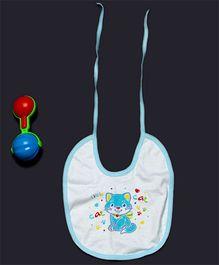 Pikaboo Kitty Print Bib Blue White - Small