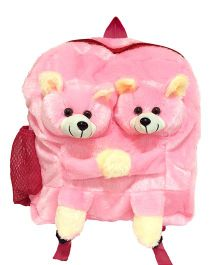 Ultra Twins Teddy School Bag Pink - 14 Inches