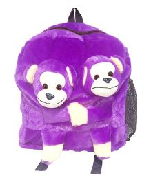 Ultra Twins Monkey School Bag Purple - 14 Inches