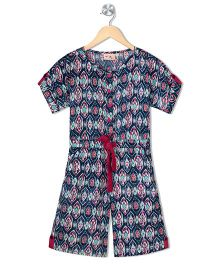 Budding Bees Girls Printed Jumpsuit - Blue