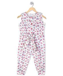 Budding Bees Infant Girls Floral Printed Jumpsuit - White Floral
