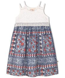Budding Bees Girls Printed Maxi Dress - White & Blue