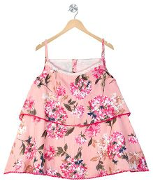 Budding Bees Girls Floral Dress - Peach