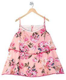 Budding Bees Girls Floral Dress - Peach