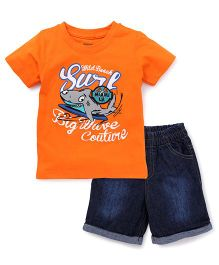 Babyhug Half Sleeves Printed T-Shirt And Shorts - Orange Blue