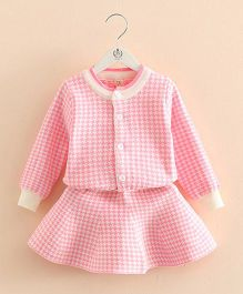 Pre Order - Mauve Collection Cute Checkered Print Skirt & Top Set - Pink