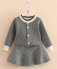 Pre Order - Mauve Collection Cute Checkered Print Skirt & Top Set - Black