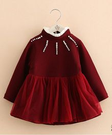 Pre Order - Mauve Collection Pearl Embellished Dress - Red