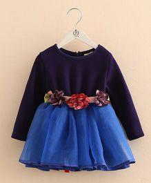 Pre Order - Mauve Collection Cute Flower Belt Style Winter Party Dress - Blue
