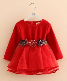 Pre Order - Mauve Collection Cute Flower Belt Style Winter Party Dress - Red