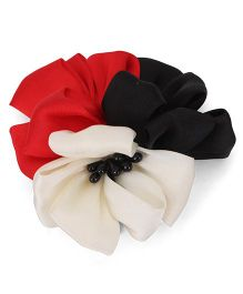 Party Princess Clip With Flower - Red Black & White