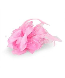 Party Princess Flower Clip With Feather - Light Pink