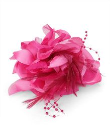 Party Princess Flower Clip With Feather - Dark Pink