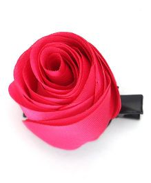 Party Princess Clip With Rose Flower - Fuchsia