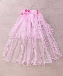 Party Princess Big Wreath With Long Net Trail - Pink