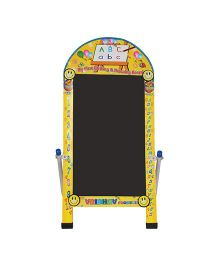 Abhiyantt Creative Kids Big Reusable Chalk And Marker Writing Double Side Board - Yellow