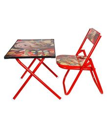 Abhiyantt Multipurpose Fold-able Table Chair - Red