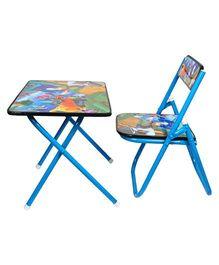 Abhiyantt Multipurpose Fold-able Table Chair - Blue