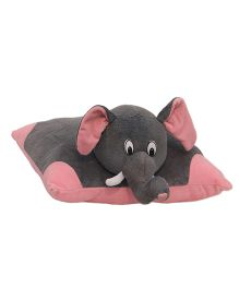 Amradeep Fun Elephant Soft Toy Pillow - Grey And Pink