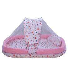 Amardeep Mattress With Mosquito Net And Bumper - Pink White