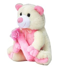 Amardeep Cream And Pink Teddy With Flowers - 76 cm