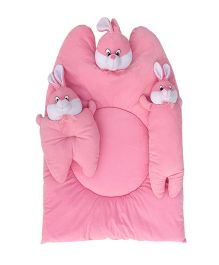 Amardeep Pink Bunny Mattress With Bolsters and Pillow - Pink
