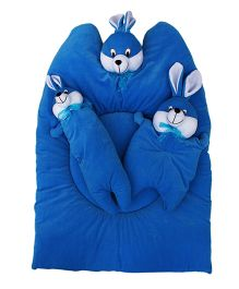 Amardeep Bunny Mattress with Bolsters and Pillow - Blue
