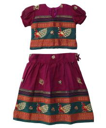 Bhartiya Paridhan Half Sleeves Pavadai Set With Embroidery - Maroon