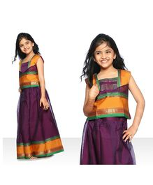 Bhartiya Paridhan Sleeveless Pavadai Set - Purple Yellow Green