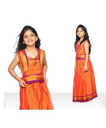 Bhartiya Paridhan Sleeveless Pavadai Set - Orange