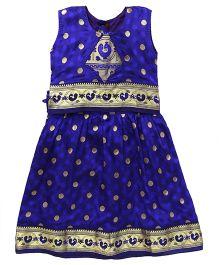 Bhartiya Paridhan Sleeveless Pavadai Set With Embroidery - Royal Blue