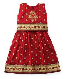 Bhartiya Paridhan Sleeveless Pavadai Set With Embroidery - Maroon