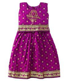 Bhartiya Paridhan Sleeveless Pavadai Set With Embroidery - Dark Purple