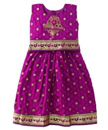 Bhartiya Paridhan Sleeveless Pavadai Set With Embroidery - Dark Purple