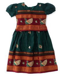 Bhartiya Paridhan Puff Sleeves Pavadai Set With Embroidery - Green
