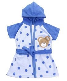 Pink Rabbit Half Sleeves Hooded Bath Robe Polka Dots - Blue