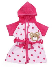 Pink Rabbit Half Sleeves Hooded Bath Robe Polka Dots - Pink