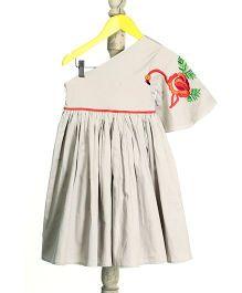 Mi Dulce An'ya Flamingo Bird Print One Shoulder Dress - Grey