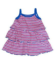 Buzzy Singlet Dress With Multi Layers - Royal Blue Pink