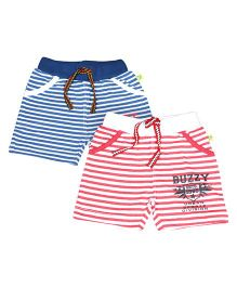 Buzzy Shorts Striped Pattern Pack Of 2 - Red Navy