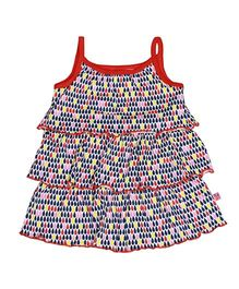 Buzzy Singlet Dress With Multi Layers - Red
