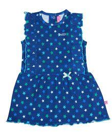 Buzzy Sleeveless Frock Star Print - Light Navy Blue