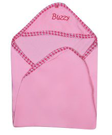 Buzzy Hooded Quilted Wrap Text Embroidered - Pink