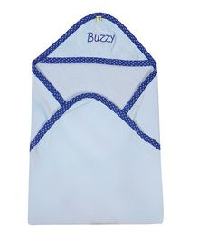 Buzzy Hooded Quilted Wrap Text Embroidered - Blue