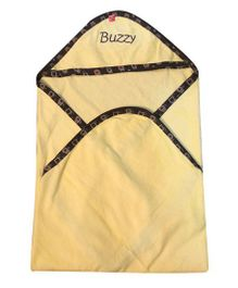 Buzzy Hooded Quilted Wrap Text Embroidered - Yellow
