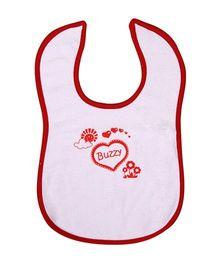 Buzzy Baby Bib Printed - White