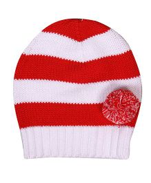 Buzzy Knitted Winter Wear Stripes Cap With Pom Pom - Red White