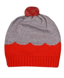 Buzzy Jaquard Design Cap With Pom Pom - Orange Grey
