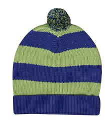Buzzy Knitted Winter Wear Stripes Cap With Pom Pom - Blue Green